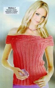 Пуловер с открытыми плечами: схема, фото, описание вязания