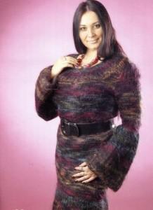 Платье спицами из мохера: описание вязания, схема, фото