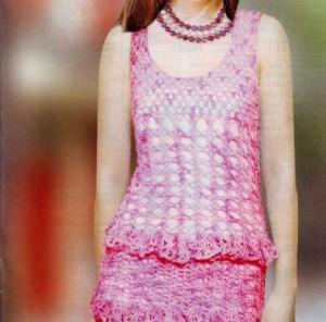 Платье с оборками крючком: схема, фото, описание вязания