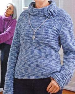 Пуловер с воротником спицами: схема, описание вязания, фото
