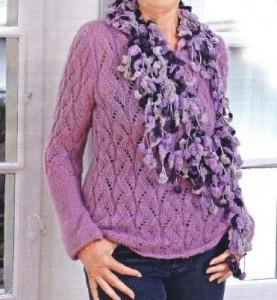 Ажурный пуловер спицами: схема, описание вязания, фото