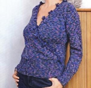Меланжевый пуловер спицами: описание, схема, фото