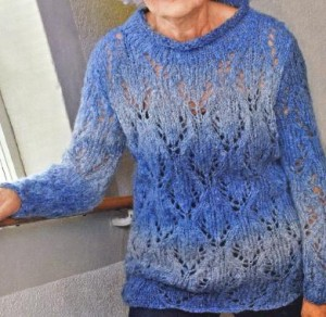 Синий пуловер спицами: описание, схема, фото