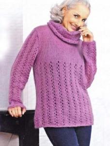 Розовый пуловер спицами: описание, схема, фото