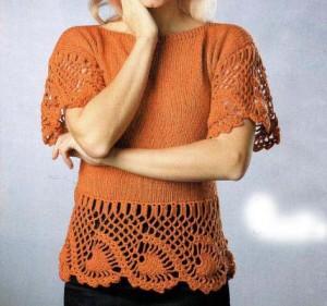 Пуловер с ажурной каймой: описание вязания, схема, фото