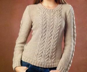 Женский пуловер с косами спицами: описание вязания, схема, фото