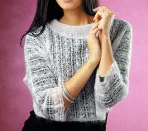 Короткий ажурный пуловер спицами: описание вязания, схема, фото