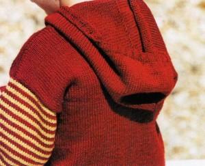 Вязаный свитер с капюшоном: фото, схема