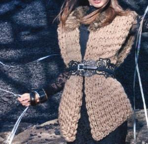 Жилет с меховым воротником: схема, описание вязания, фото