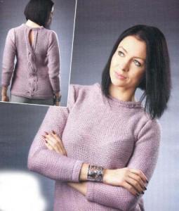 Красивый пуловер спицами: описание вязания, фото, схема