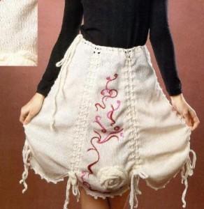 Вязаная белая юбка спицами: схема, фото