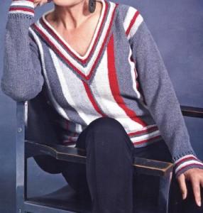Пуловер в полоску спицами: схема, описание вязания, фото