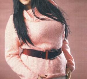 Персиковый пуловер: схема, фото, описание вязания