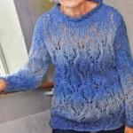 Синий пуловер: описание, схема, фото