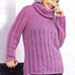 Розовый пуловер: описание, схема, фото