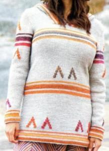 Пуловер с капюшоном спицами: схема, фото