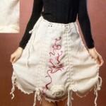 Вязаная белая юбка