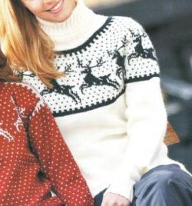 Женский свитер с оленями спицами: описание вязания, схема, фото