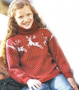 Детский свитер с оленями: описание вязания, схема, фото