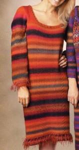 Платье с бахромой: описание вязания, фото, схема